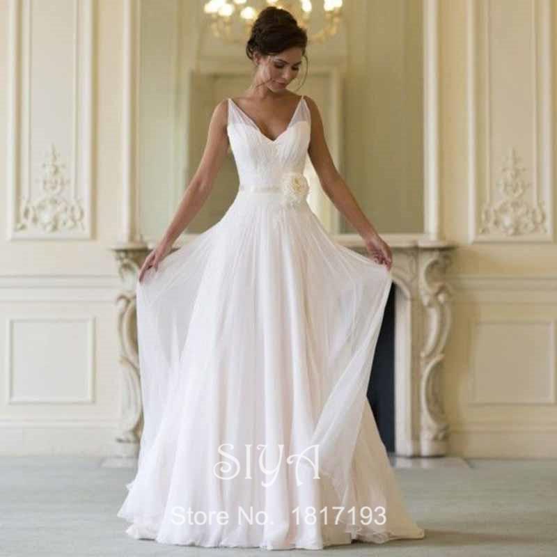 2015 одеяние де свадебная простой белый V шеи шифон свадебное платье ну вечеринку платья створки белый дешевые пляж рукавов свадебное платье