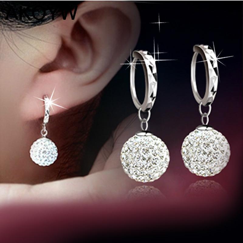 Silver plated circular earrings earrings female models Shambhala fashion jewelry lovely wild super flash retro crystal jewelry(China (Mainland))