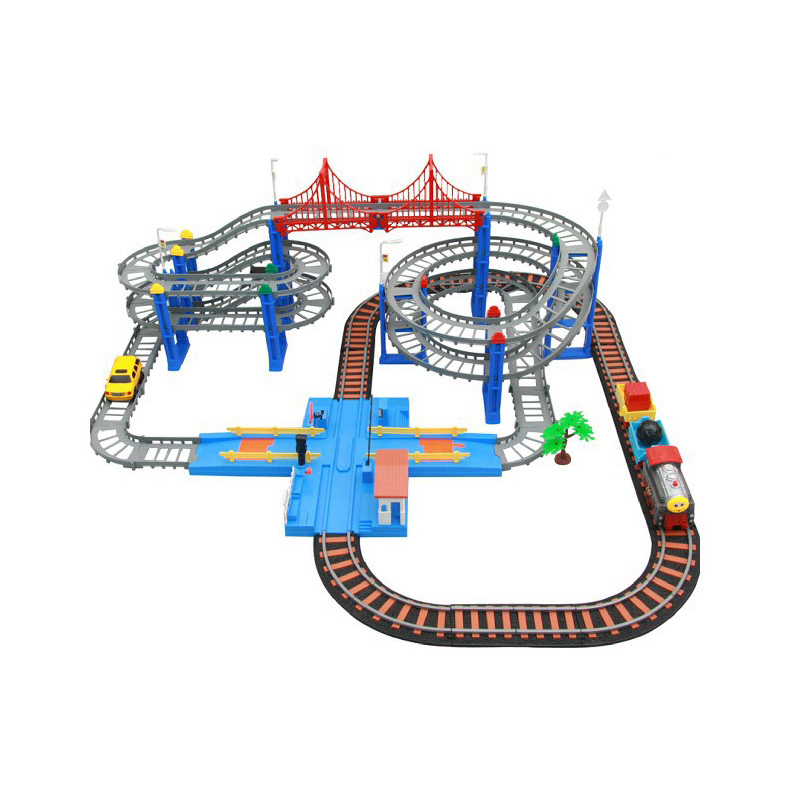 Lixin 25688 2016 Hot Sell 3D Four-layer Spiral Track Roller Coaster Toy Electric Rail train+Car For Child Gift 1set/lot(China (Mainland))