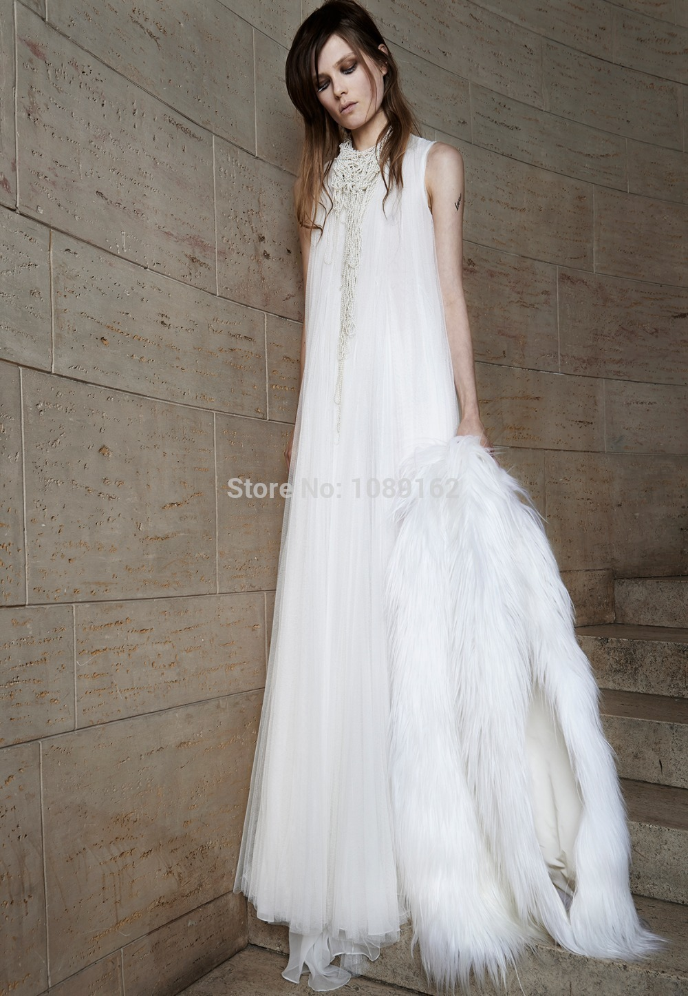 2015 New Romantic Sheath Sleeveless Tank Scoop Floor Length Sweep Train Appliques Zipper Pleat Chiffon Wedding Dresses - Ma wedding celebration factory store