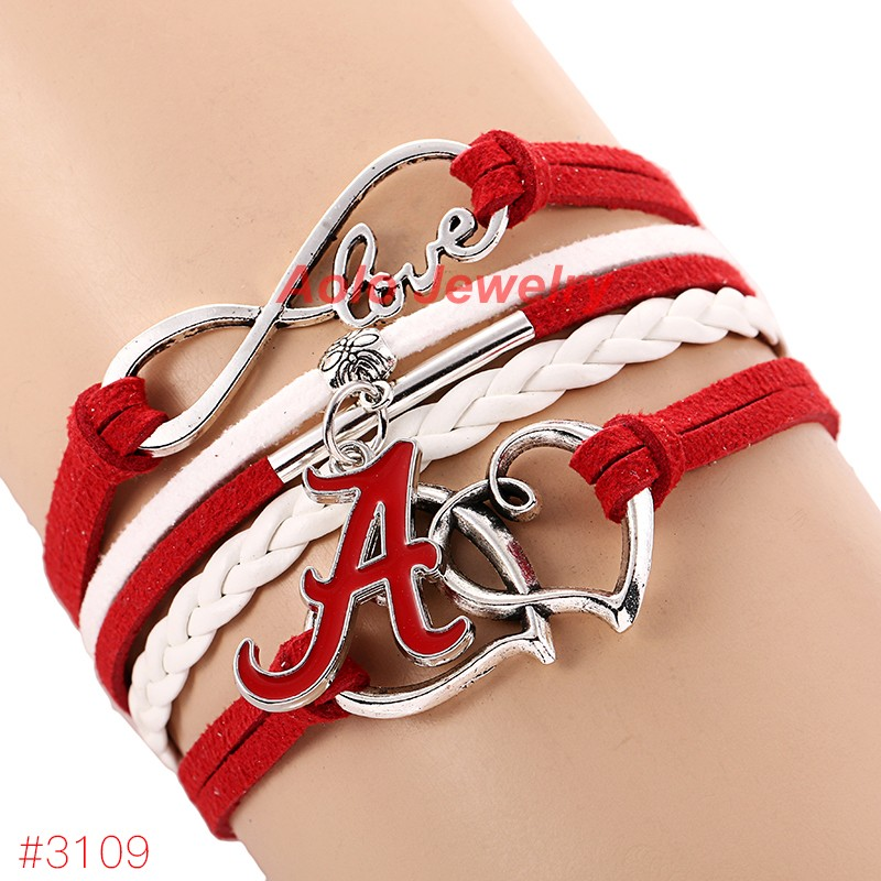 Infinity Love Alabama Crimson Tide College Football Bracelet 2016 New Leather Bracelet Fans Jewelry 6Pcs/Lot ! Free Shipping!(China (Mainland))