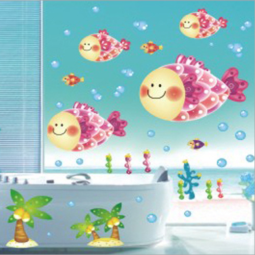 big fish cartoon wandaufkleber f r dusche fliesen. Black Bedroom Furniture Sets. Home Design Ideas