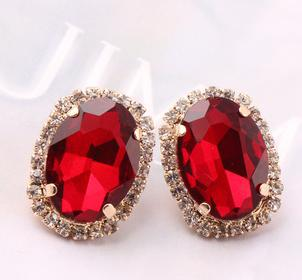 Q1490 Crystal oval Luxury stone earrings exaggerated big earrings sexy nightclub B9