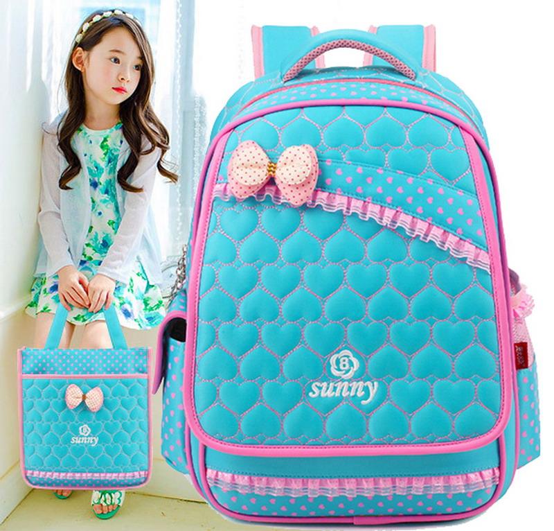 Top Brand Orthopedic Cute Love Heart Princess Children School Bags Backpack Mochila For