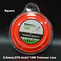 2 0mm 0 08 X 15m Length Square Orange Color Brush Cutter Gass Trimmer Nylon Line