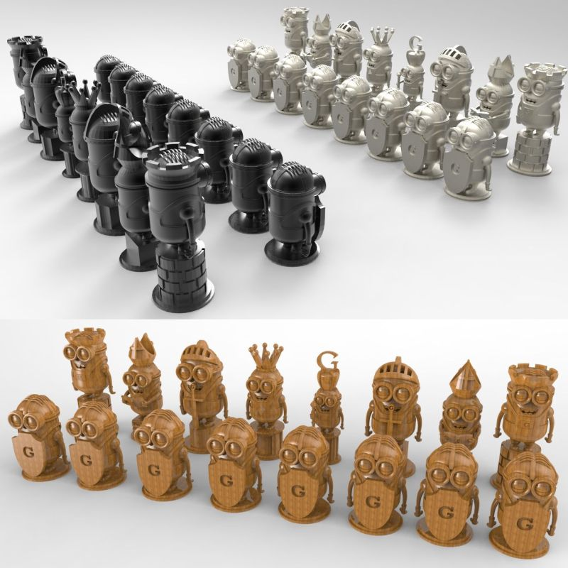 Minions_chess 3D model for 4 axis circular diagram 3D carved sculpture cnc machine in STL file(China (Mainland))