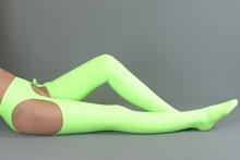Woman Sexy Light Green Lycra underwear + mercerized Thigh High Socks suit