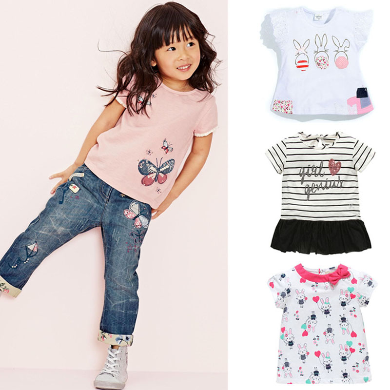 New 2017 Quality 100% Cotton Brand Baby Girls T-Shirt Summer Clothing Children Tees Kids Clothes Short Sleeve t Shirt Baby Girls(China (Mainland))