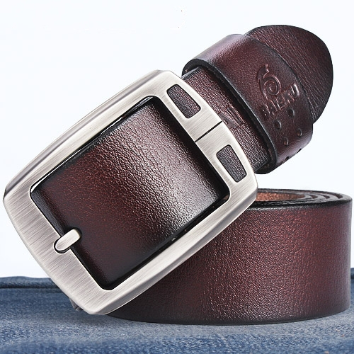 100 cowhide genuine leather belts for men BAIEKU brand Strap male pin buckle vintage jeans cowboy