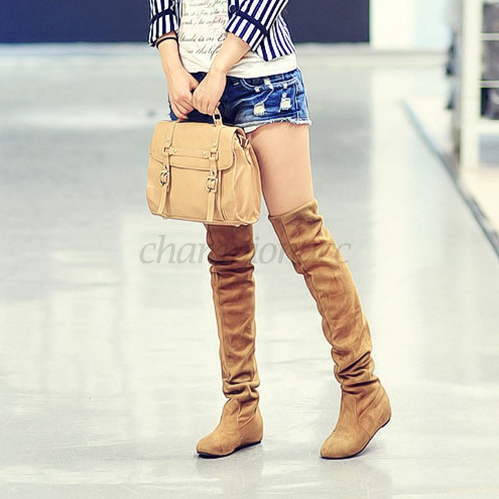 New Arrival Sexy Women Boots Over Knee High Faux Suede Thigh Boots Ladies Slim Flat Heel Long Boots US50(China (Mainland))