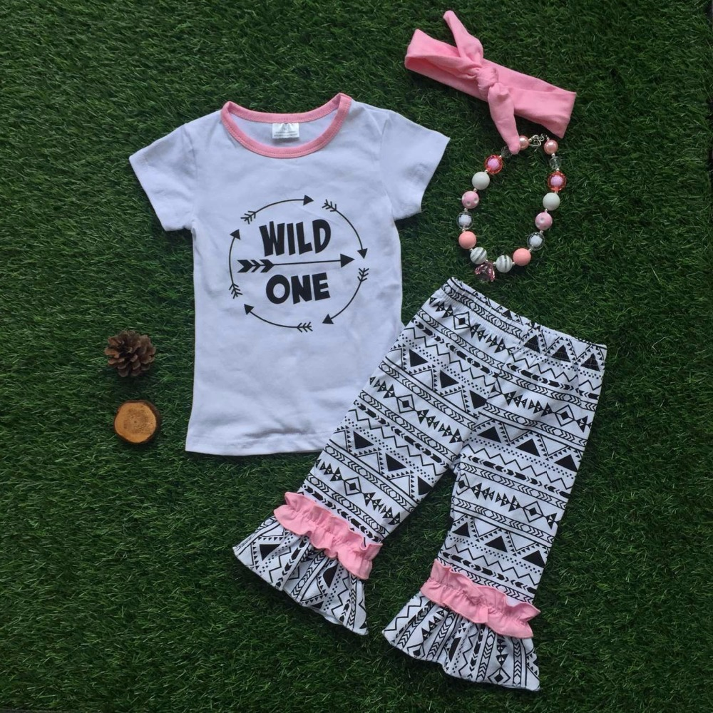2016 New Baby Girls Kids Wild One Outfits Short Sleeve Shirt Summer Outfit With Matching ...