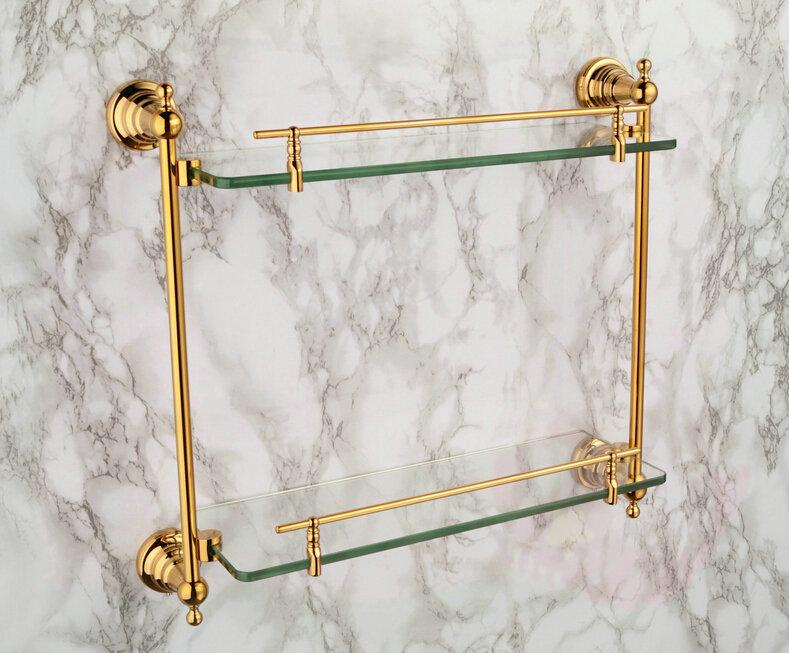 three holes shiping copper gold paint double layer glass shelf shelving bathroom shelf bathroom shelf GB012d-1 torneira eletrica(China (Mainland))