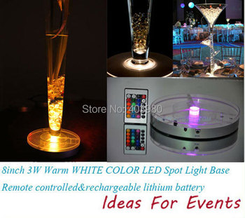 2015 New Wedding Invitations Decoration Led Light Base for Wedding Centerpiece + Rechargeable Battery 24 Keys Ir Remote Control
