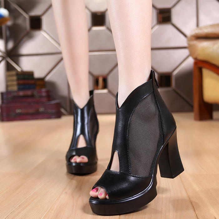 2015 spring and autumn genuine leather open toe cutout high heel shoe thick heel gauze boots <br><br>Aliexpress