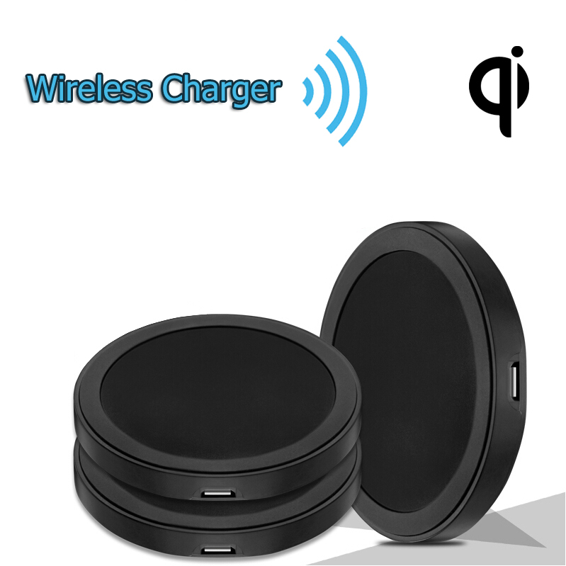 Free Shipping Black Round Qi Wireless Charger Charging Pad For Samsung Note 4 S4 S5 Lumia 920 Sony Z3v Nexus 5 6 7 Moto 360(China (Mainland))