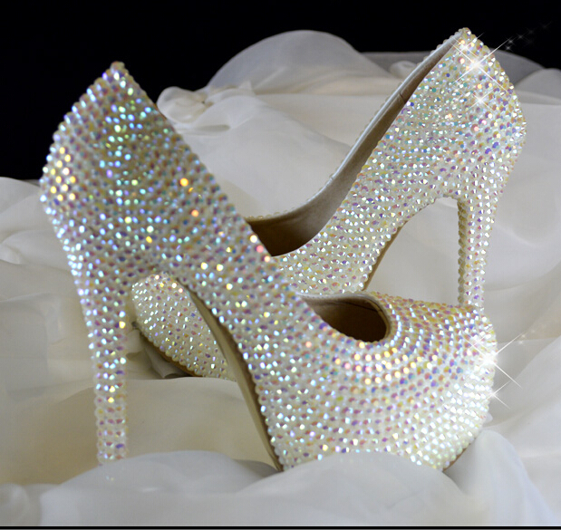 style white ab rhinestone bling wedding shoes bridal party shoes