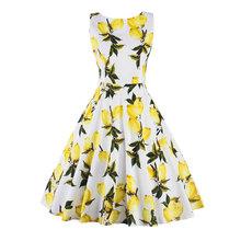 Lemon Print floral 50s 60s Vintage Dresses Audrey Hepburn Sleeveless  Summer Ret