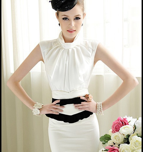 Stand Collar Blouse Designs Images : New ol style stand collar sleeveless and ruffled