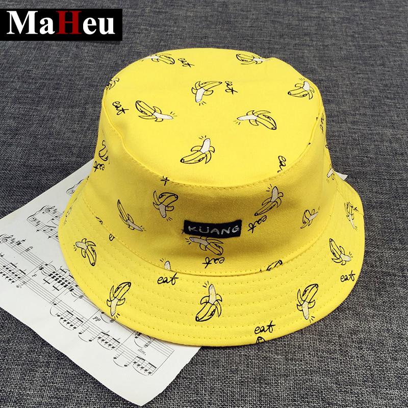 Bucket cap Man Women Unisex cotton Banana Hat Bob Caps Hip Hop cool outdoor sports Summer ladies Beach Sun Fishing Bucket Hats(China (Mainland))