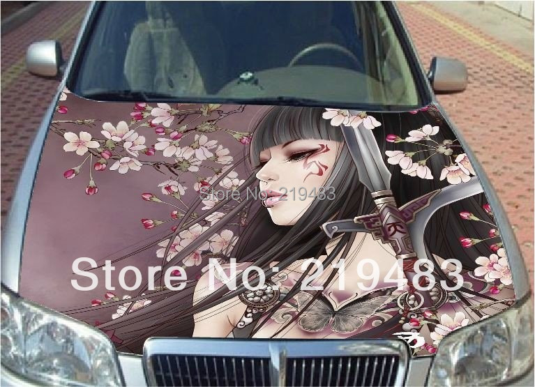 DIY Car covers car styling 3d Cherry Blossom Girl Cartoon car sticker Waterproof material Protective film 150*135cm,HD Printing(China (Mainland))