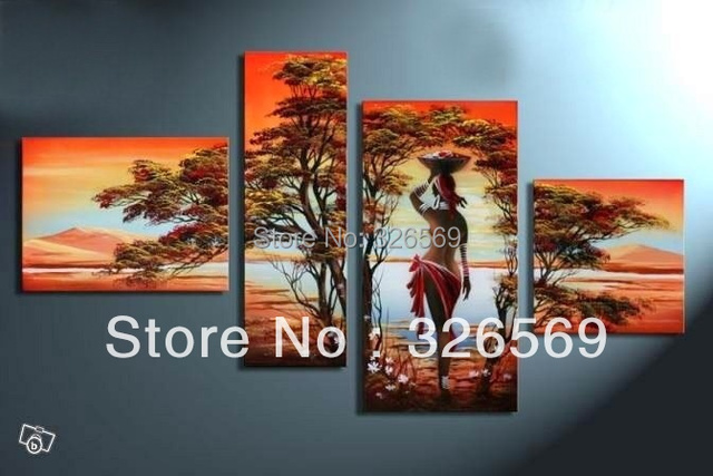 Pure hand painted Africa woman  landscape oil painting valentine's day Q20121118