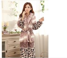 Winter thick flannel nightgown bathrobe super soft flannel Ms. grace and elegance of high-end pajamas bathrobe #1244(China (Mainland))