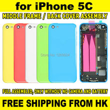 White Pink Yellow Blue Full set Battery Door Rear Back Cover Housing Middle Frame Assembly Replacement for iPhone 5C+Repair Tool(China (Mainland))