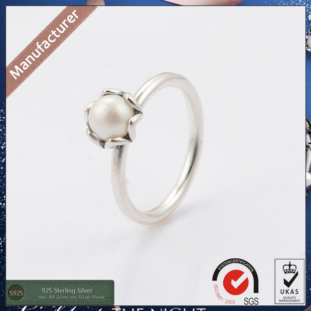 2015 Newest Silver White Freshwater Pearl Engagement Rings for Women 925 Silver Wedding Rings RIP118<br><br>Aliexpress