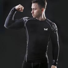Manga larga para hombre t shirt culturismo fitness clothing 2017 nuevos mens gimnasios gimnasios deportivos de compresión tops camiseta apretada(China (Mainland))
