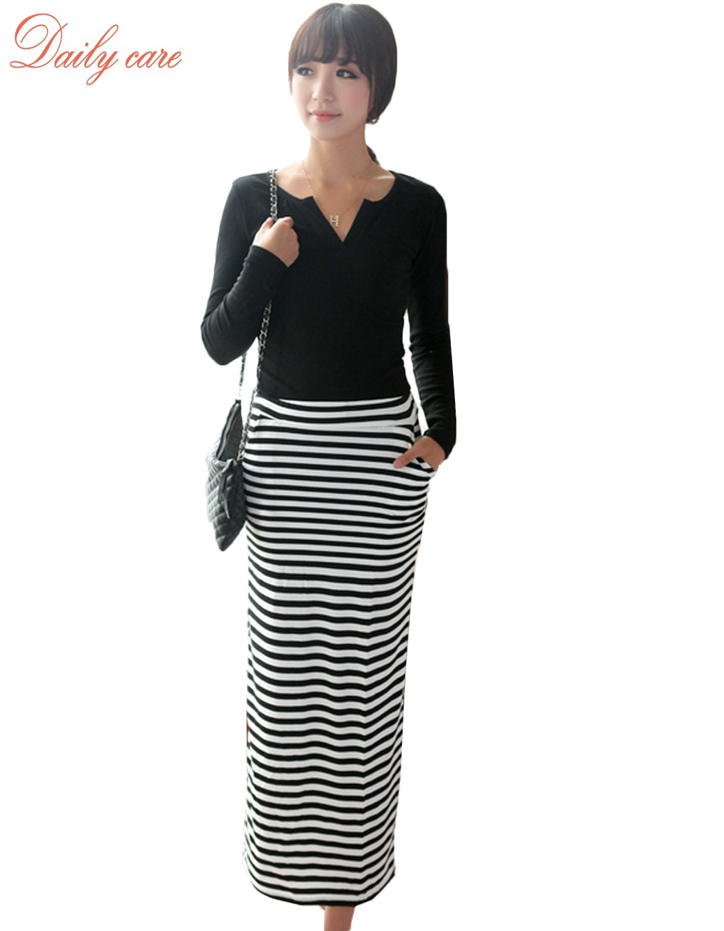 New Long Wool Skirt Winter Retro Button Skirts Womens Long Pencil Skirt