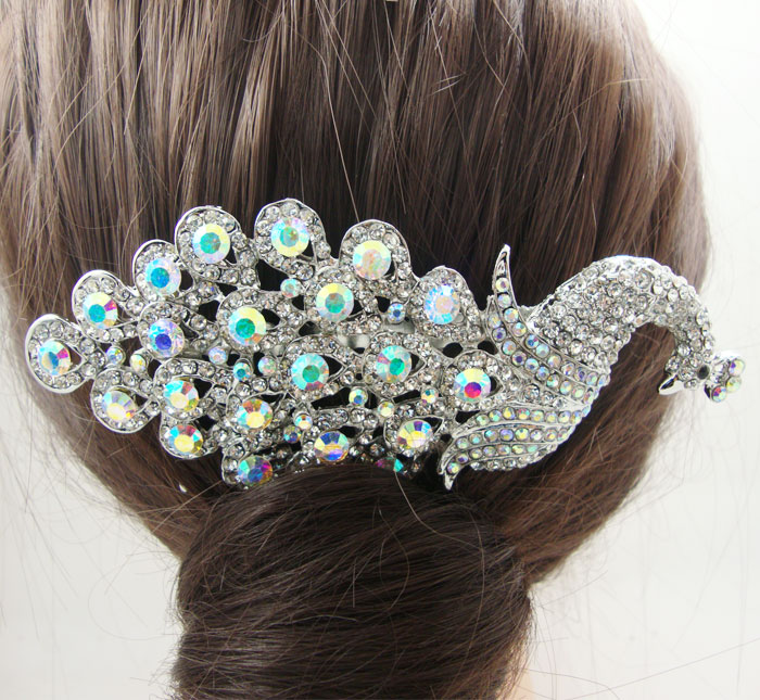 Classic Romance Style Bridal Peacock Hair Comb Tiara Rhinestone Crystal Bird Peafowl Clear AB(China (Mainland))