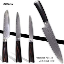 Buy XYJ brand damascus pattern knives chef santoku utility knife AUS-10 Damascus steel kitchen knives handmade cooking knives for $92.56 in AliExpress store