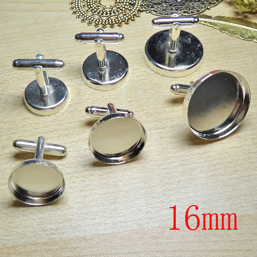 100pcs Wholesale Silver Plated French Cuff links Jewelry with inner 16mm Bezel Setting Tray for Cameo Cabochonsons(China (Mainland))