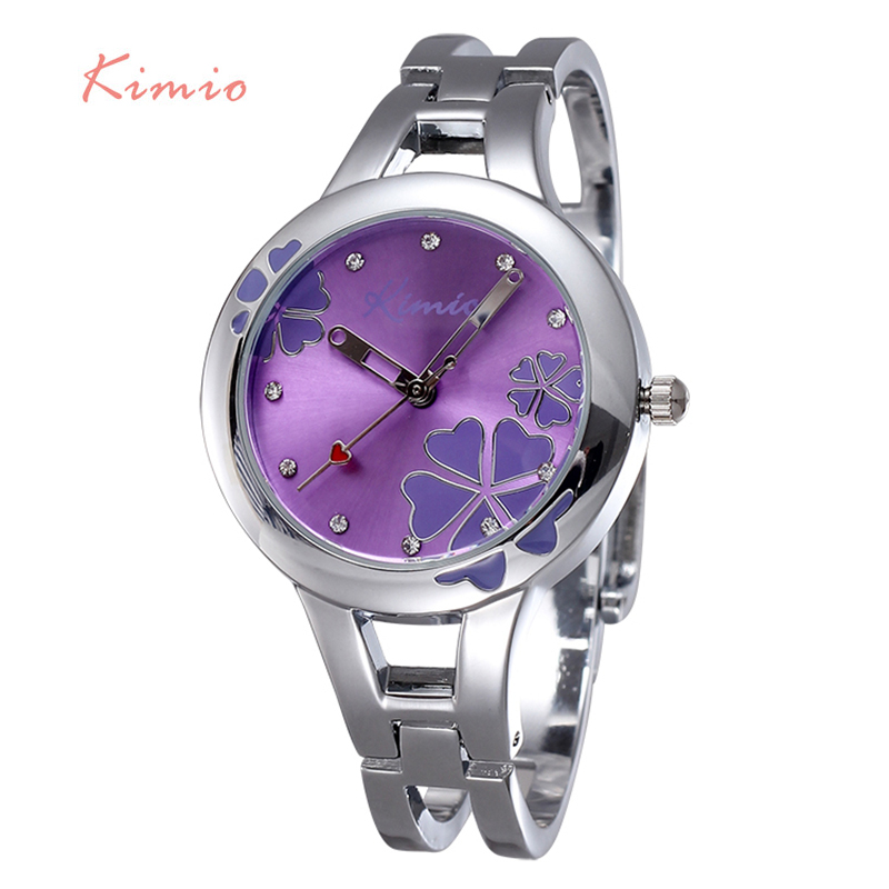 2016 Kimio Hot Women Watch Clover Famous Brand Ladies Fashion Stainless Steel Bracelet Quartz Watch Women Lucky WristWatch K425(China (Mainland))