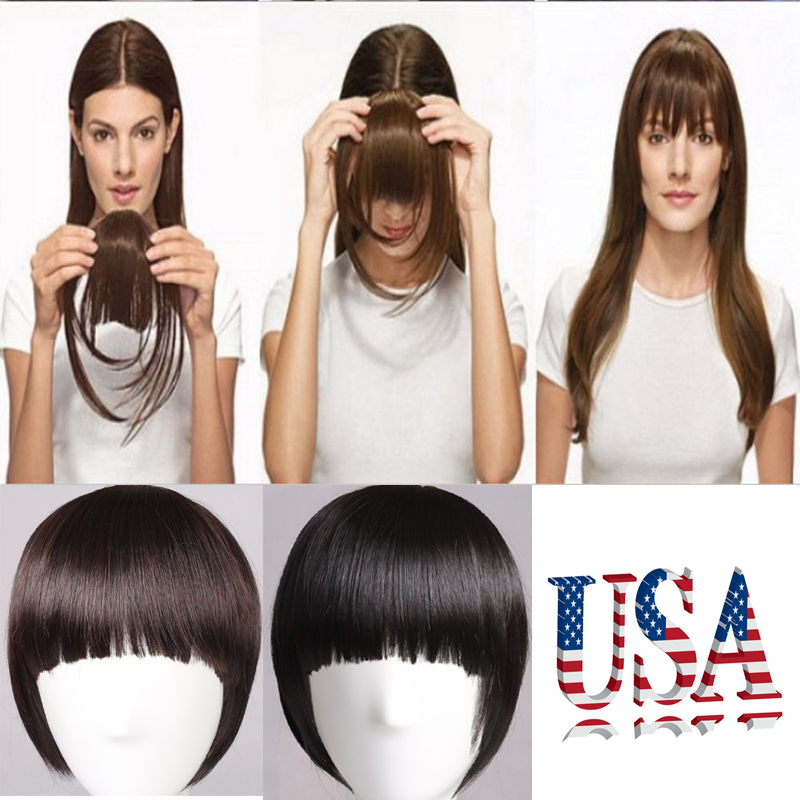 New 7 17CM Front Neat Bang Hair Extension Clip In Bangs Synthetic Hair Fringe 12 Colors Mega Hair Pad<br><br>Aliexpress