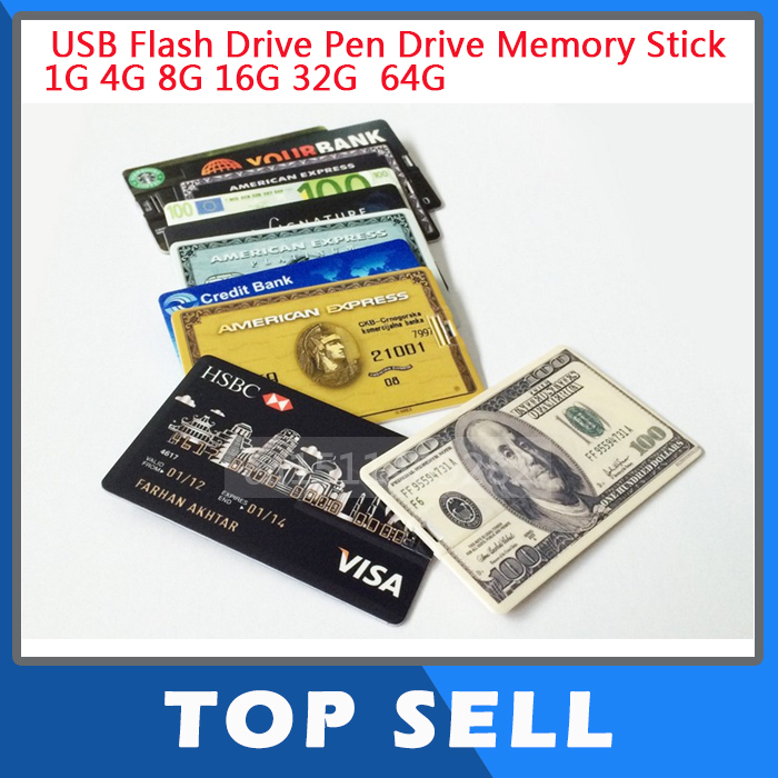 Wholesale 4GB 8GB 16GB 32GB Bank Credit Card Shape USB Flash Drive 128gb Pen Drive Memory Card Stick Pendrive U Disk(China (Mainland))