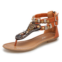 Fashion Bohemia String Beads Cluster Fashion Flip-Flop Sandals Charms Summer Women Flat Heels Shoes