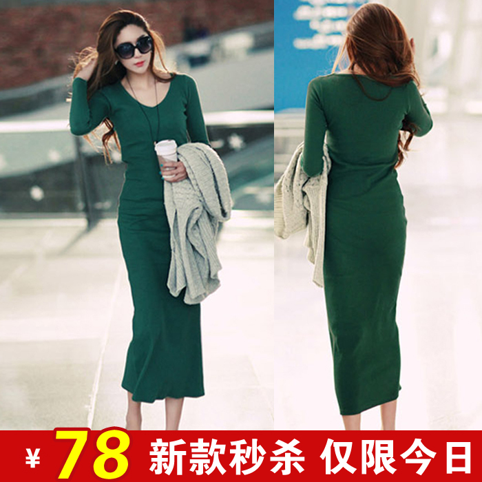 2012 autumn long-sleeve winter one-piece dress slim hip basic long design full dress, free shipping(China (Mainland))