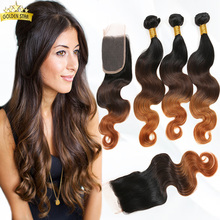 brazilian body wave ombre hair with lace closure, brazilian ombre hair extensions with middle part closure 1b/4/30 no smell