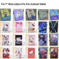 """Kids Gifts Congelados Yellow Minion Hello Kitty 7 inch PU Leather Case Cover  For 7"""" iRulu eXpro X1a X1s Android Tablet"""