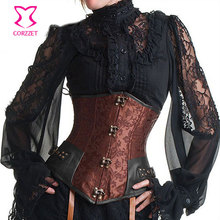Sexy Bustier Steampunk Corset Brown Brocade Waist Training Corsets and Bustiers Steel Boned Corselet Underbust Gothic Clothing
