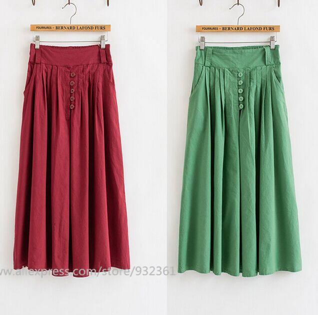 Vintage Pure Color Folds Long Skirt Cotton Linen Elastic Waist women skirt summer style long Skirts Womens saia longa faldas(China (Mainland))