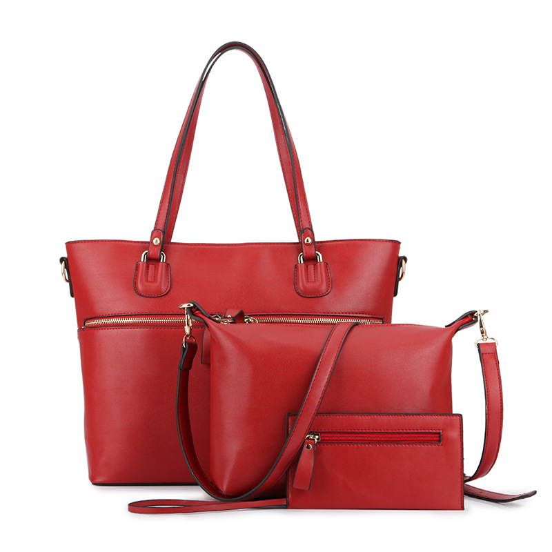 3 Sets Composite Bag New 2016 Women Famous Brands Fashion High Quality Wine Red PU Leather Luxury Handbag Female Shoulder Bag(China (Mainland))