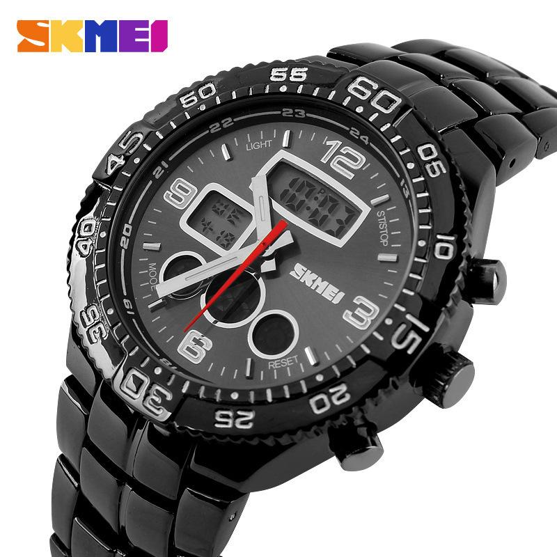Skmei watch men luxury brand Military Quartz Watches Sport dive 30m LED Digital Watches Stainless Steel Multifunction Wristwatch