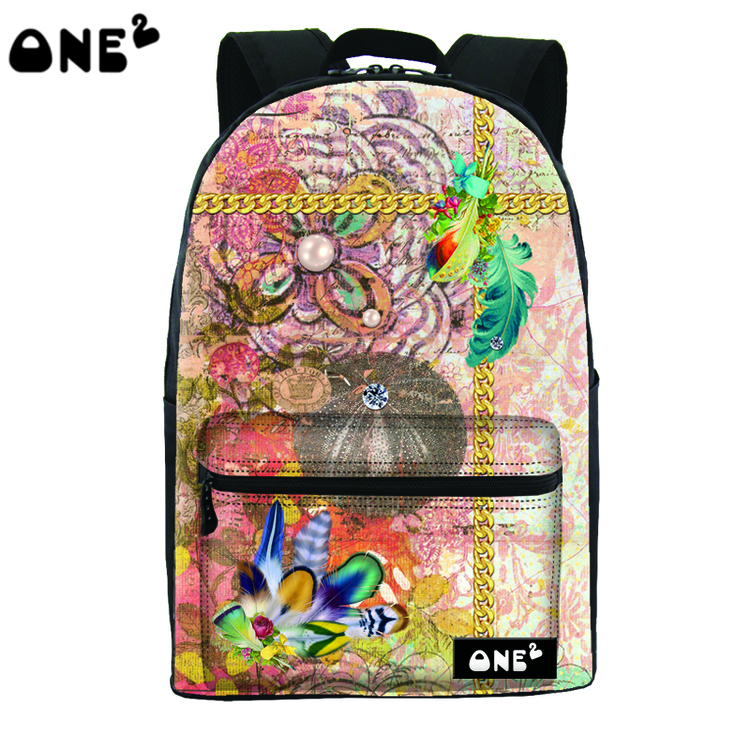 ONE2 Design special flowers polyester school bag laptop backpack college university students teenager boys girls women man(China (Mainland))