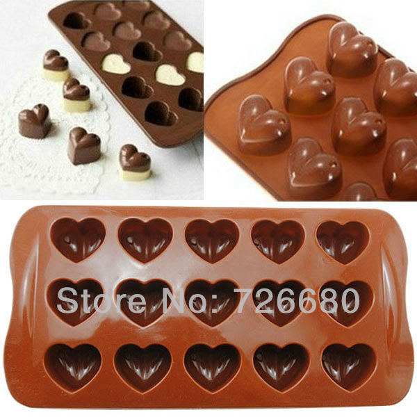 Free Shipping! Christmas Gifts New arrival Silicone Heart Chocolate Molds Jelly Ice Molds Cake Mould