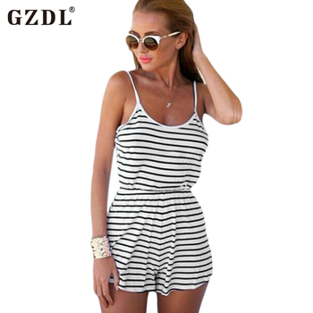 Summer Sexy Women Spaghetti Strap Backless Striped Print Casual Tunic Beach Jumpsuit Romper Overalls Macacao Feminino CL2042