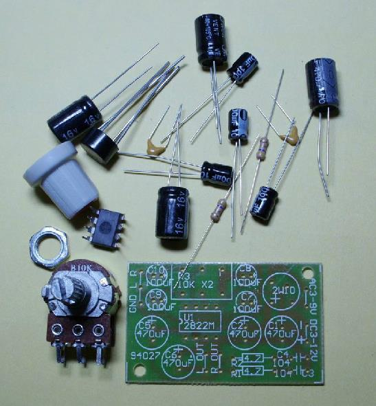 Free Shipping Mini two channel amplifier board 2W TDA2822M with volume control DIY KIT(China (Mainland))