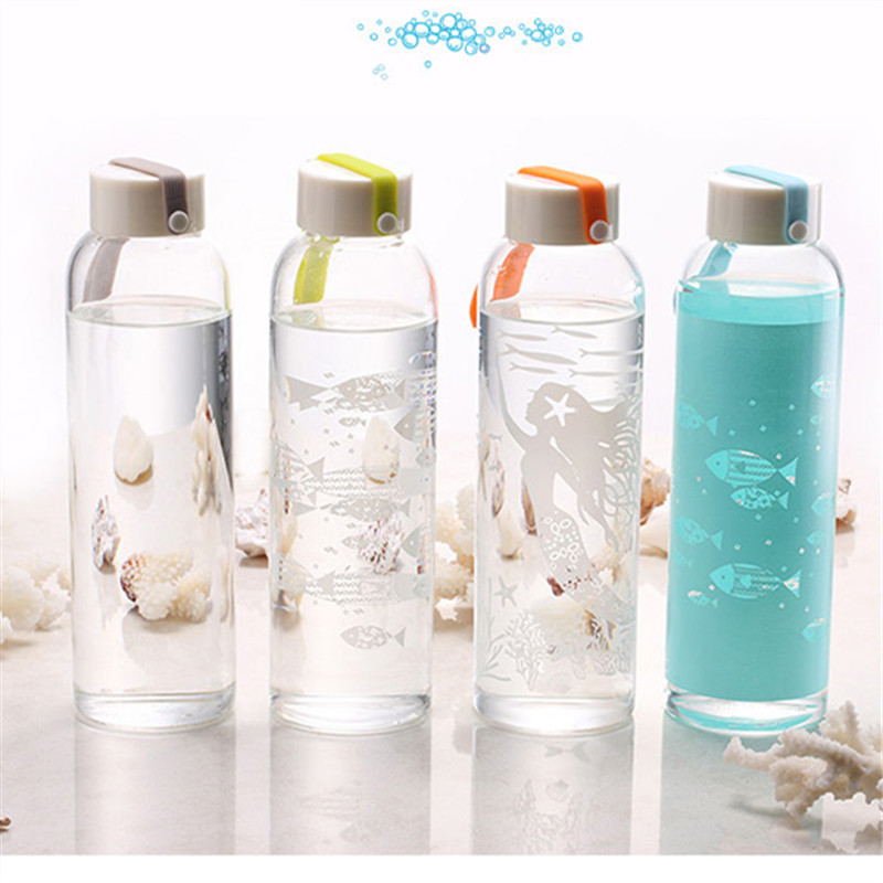 2 Pieces 500ml Portable Sea Life Clear Water Bottle Glass Sports Travel Mug with Lid Sleeve Gift Box 4 Colors(China (Mainland))