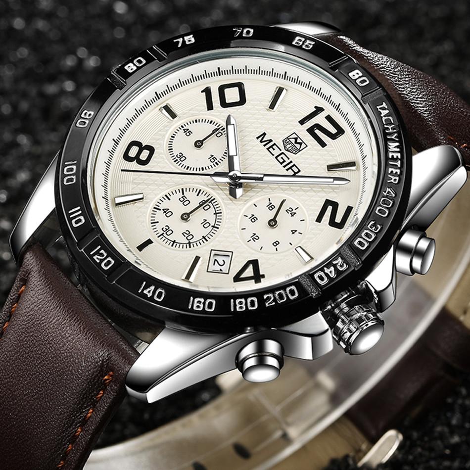 MEGIR Дата Хронограф Спортивные Часы Мужчины Ремень Из Натуральной Кожи Часы Время Часы Мода Повседневная Мальчики Водонепроницаемый Наручные Часы